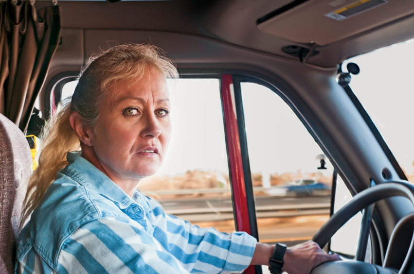 Pretty Woman Driving a Semi-Truck
