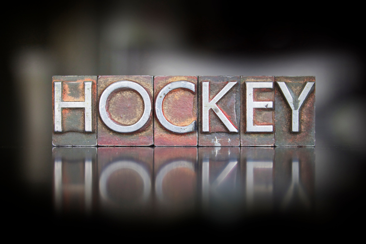The word Hockey written in vintage letterpress type
